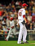 29 September 2010: Washington Nationals pitcher Ross Detwiler stands at the edge of the mound after serving up a two-run homer to Ben Francisco of the Philadelphia Phillies at Nationals Park in Washington, DC. The Phillies defeated the Nationals 7-1 to take the rubber game of their 3-game series. Mandatory Credit: Ed Wolfstein Photo
