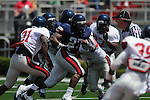 Blue team running back Enrique Davis runs in Mississippi's Grove Bowl in Oxford, Miss. on Saturday, April 17, 2010. The play was called back because of penalty.