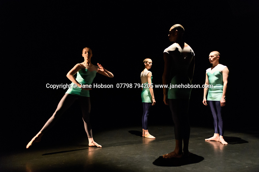 "London, UK. 08.03.2017. Julie Cunningham & Company present ""Returning"" and ""To Be Me"", in a double bill, in The Pit, at the Barbican Centre. The piece shown is ""Returning"". The dancers are: Julie Cunningham, Harry Alexander, Hannah Burfield, Alexander Williams. Photograph © Jane Hobson."