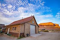 Ranch barn andCanyon walls  Nature Conservancy Dugout Ranch, Utah  Indian Creek, Near Canyonlands National Park, Utah