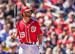 6 April 2014: Washington Nationals outfielder Kevin Frandsen in action against the Atlanta Braves at Nationals Park in Washington, DC. The Nationals defeated the Braves 2-1 to salvage the last game of their 3-game series. Mandatory Credit: Ed Wolfstein Photo *** RAW (NEF) Image File Available ***