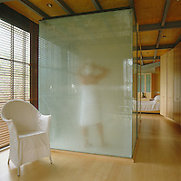 The shower with Turkish bath in the main bathroom is made from frosted glass