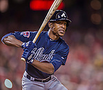 5 April 2014: Atlanta Braves center fielder B.J. Upton at bat against the Washington Nationals at Nationals Park in Washington, DC. The Braves defeated the Nationals 6-2 to take the second game of their 3-game series. Mandatory Credit: Ed Wolfstein Photo *** RAW (NEF) Image File Available ***