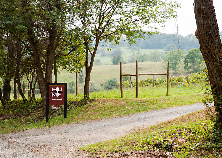 The driveway entrance to Hume Vineyards.