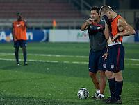 Wilmer Cabrera coaches Eriq Zavaleta at training sesson. U.S. Under-17 Men in Kano, Nigeria.