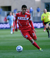 Chicago Fire forward Orr Barouch (15) makes a move.  The Chicago Fire defeated Sporting KC 3-2 at Toyota Park in Bridgeview, IL on March 27, 2011.