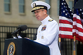 Washington, DC - September 11, 2009 -- United States Navy Admiral Mike Mullen, chairman of the Joint Chiefs of Staff speaks at the commemoration ceremony marking the eighth anniversary of the terrorist attacks that killed 59 passengers onboard hijacked American Airlines flight 77 crashing it into the Pentagon killing 125 inside. Mandatory Credit: Chad J. McNeeley - DoD via CNP