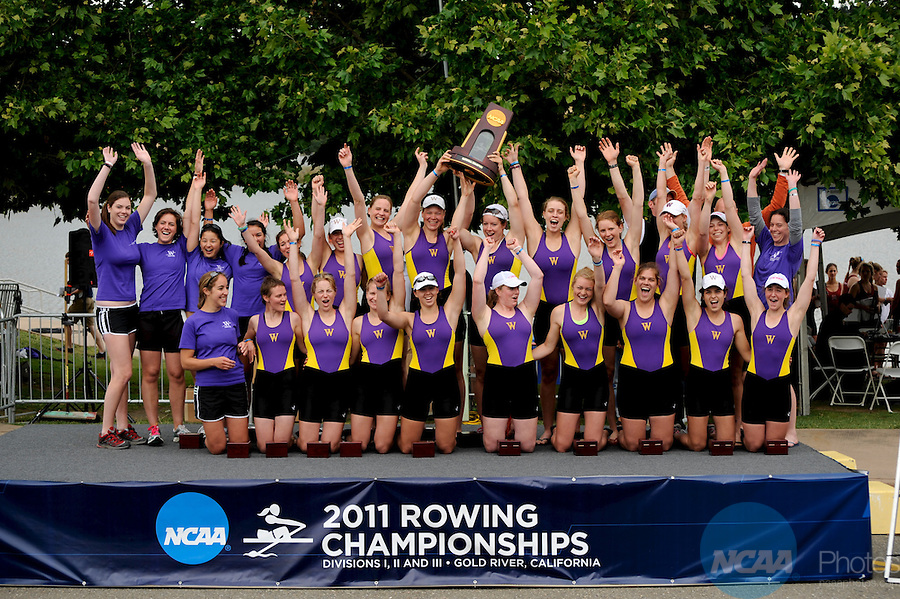 28 MAY 2011: The Williams College team celebrate their 1st place in the team overall during the 2011 NCAA Division III Women's Rowing Championship hosted by Washington State University held at the Sacramento State Aquatic Center in Gold River, CA. Williams placed first to win the national team title. Brett Wilhelm/NCAA Photos