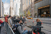 Media camped out across fromTrump Tower on Fifth Avenue in New York on Thursday, November 10, 2016. Security is tight due to President-elect Donald Trump living there. (© Richard B. Levine)