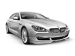 Silver 2015 BMW Alpina B6 Gran Coupe luxury car isolated on white background with clipping path