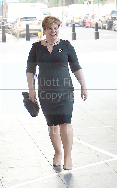 Andrew Marr Show <br /> arrivals<br /> BBC, Broadcasting House, London, Great Britain <br /> 9th April 2017 <br /> <br /> Emily Thornberry<br /> Shadow Foreign Secretary<br /> <br /> <br /> <br /> <br /> Photograph by Elliott Franks <br /> Image licensed to Elliott Franks Photography Services