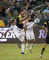Columbus Crew midfielder Eddie Gaven (12) battles for the ball during the first half of the game between LA Galaxy and the Columbus Crew at the Home Depot Center in Carson, CA, on September 11, 2010. LA Galaxy 3, Columbus Crew 1.