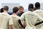 31 August 2008: Wake Forest head coach Jay Vidovich (center) talks to his team. The Wake Forest University Demon Deacons defeated the Florida International University Panthers 3-0 at Fetzer Field in Chapel Hill, North Carolina in an NCAA Division I Men's college soccer game.