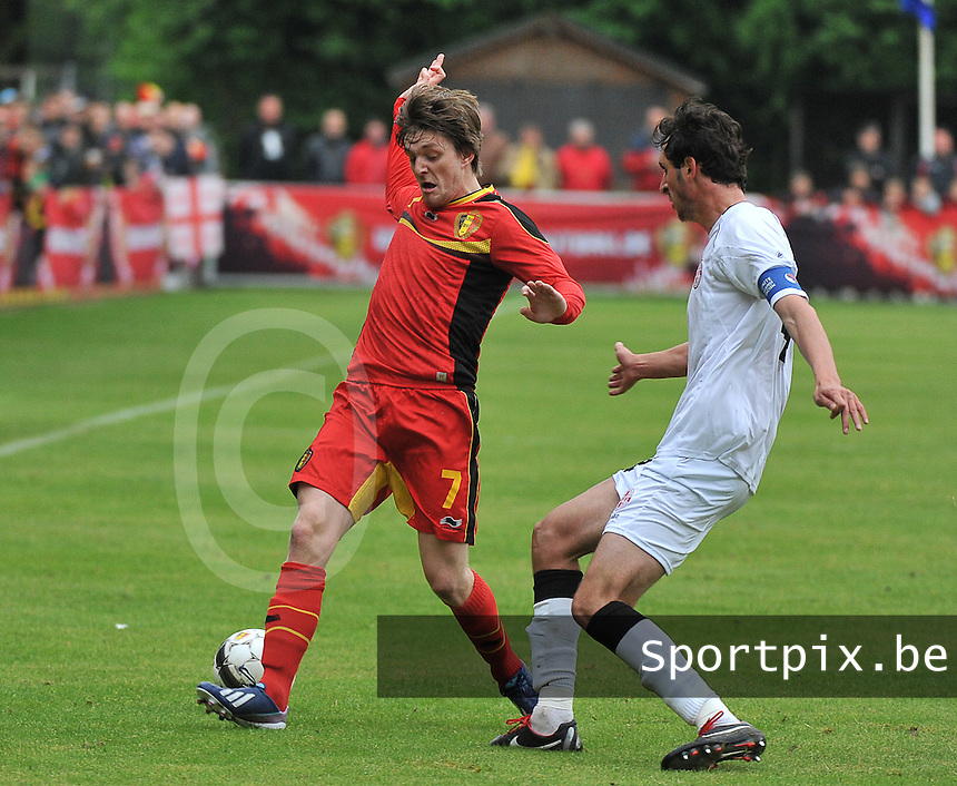 Georgia U19 - Belgium U19 : Thomas Foket (7) and Nika Sandokhadze (4)<br /> foto DAVID CATRY / Nikonpro.be