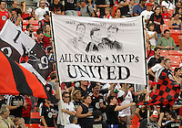 WASHINGTON, DC - AUGUST 4, 2012:  Fans of DC United during an MLS match against the Columbus Crew at RFK Stadium in Washington DC on August 4. United won 1-0.