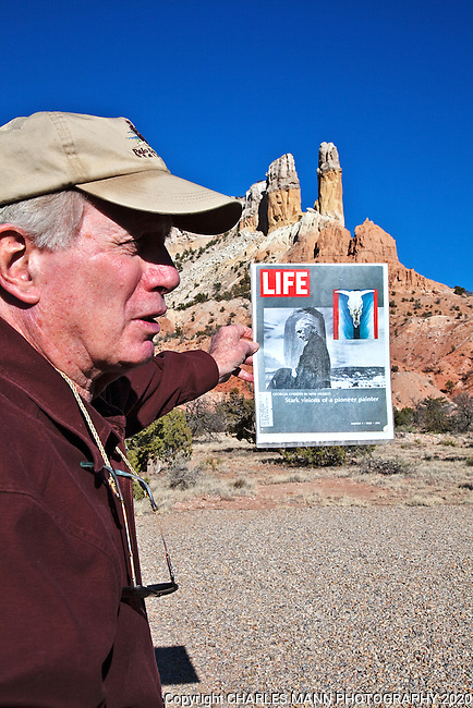 Docent Clark De Schweinitz conducts tours at Ghost Ranch near Abiquiu, New Mexico, pointing out features of the landscape that apper in Georgia O'Keefe's famous paintings.