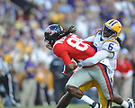 Ole Miss wide receiver Ja-Mes Logan (85) vs. LSU safety Craig Loston (6) at Tiger Stadium in Baton Rouge, La. on Saturday, November 17, 2012. LSU won 41-35.....