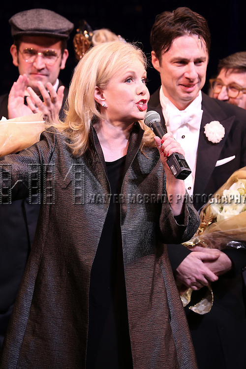 """Director Susan Stroman, Zach Braff and Company during the Broadway Opening Night Performance Curtain Call for ''Bullets Over Broadway'""""at the St. James Theatre on April 10, 2014 in New York City."""