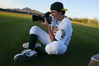 PHOENIX, AZ - FEBRUARY 27:  Barry Zito of the Oakland Athletics during a photo shoot at Phoenix Municipal Stadium on February 27, 2005 in Phoenix, Arizona. (Photo by Michael Zagaris/MLB Photos via Getty Images)