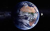 Digitally manipulated image of Africa and the Atlantic Ocean from space over the Equator