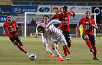 Al-Ahly players compete with Zamalek players during their Egyptian Premier League football match at the Petro Sport stadium in Cairo on December 29, 2016. Photo by Amr Sayed