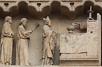 The miraculous mass, with St Honore before the altar and the hand of God blessing the eucharist, from the tympanum of the South portal or St Honore portal on the South transept of the Basilique Cathedrale Notre-Dame d'Amiens or Cathedral Basilica of Our Lady of Amiens, built 1220-70 in Gothic style, Amiens, Picardy, France. St Honore or Honoratus was the 7th bishop of Amiens who lived in the 6th century AD. Amiens Cathedral was listed as a UNESCO World Heritage Site in 1981. Picture by Manuel Cohen
