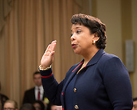 Washington DC, July 12 2016, USA--Attorney General Loretta Lynch testifies in front of the House Judiciary Committee on the recent violence spreading throughout the US and the FBI probe in to former Secretary of State Hilary Clinton's emails. Patsy Lynch/MediaPunch