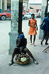 Selling fruit. Images of the capital,Port au Prince, Haiti 1975