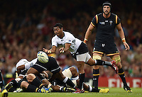 Henry Seniloli of Fiji passes the ball. Rugby World Cup Pool A match between Wales and Fiji on October 1, 2015 at the Millennium Stadium in Cardiff, Wales. Photo by: Patrick Khachfe / Onside Images