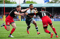 Telusa Veianu of Leicester Tigers takes on the Saracens defence. Aviva Premiership semi final, between Saracens and Leicester Tigers on May 21, 2016 at Allianz Park in London, England. Photo by: Patrick Khachfe / JMP