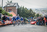 Team Quickstep Floors setting the pace up on the infamous Mur de Huy on the 2nd run up in service of team leader Dan Martin (IRE/Quickstep Floors)<br /> <br /> 81st La Fl&egrave;che Wallonne (1.UWT)<br /> One Day Race: Binche &rsaquo; Huy (200.5km)