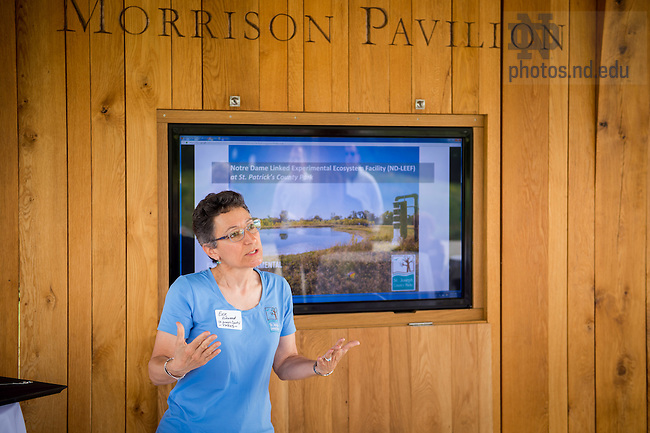 June 10, 2016; Director of St. Joseph County Parks Evie Kirkwood speaks at the dedication of the Morrison Pavilion at the ND LEEF facility in St. Patrick's County Park. (Photo by Matt Cashore/University of Notre Dame)