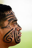 Traditional tattoos on face of a Maori warrior RESERVED USE - NOT FOR DOWNLOAD -  FOR USE CONTACT TIM GRAHAM