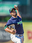29 June 2014:  Vermont Lake Monsters pitcher Victor Veliz on the mound against the Lowell Spinners at Centennial Field in Burlington, Vermont. The Lake Monsters fell to the Spinners 7-5 in NY Penn League action. Mandatory Credit: Ed Wolfstein Photo *** RAW Image File Available ****