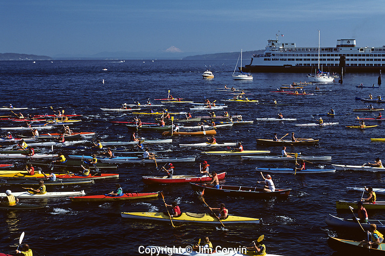 Edmonds triple-thon with rowers, kayakers starting out with Mount Baker and ferry boat in background Edmonds Washington State.