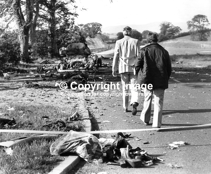 The scene of the overnight 31st July 1975 incident in which 3 members of the Rep of Ireland based Miami Showband and 2 members of the Ulster Defence Regiment died. The showband members were travelling home after appearing at the Castle Ballroom in Banbridge, Co Down, N Ireland when they were stopped at what they thought was a legitimate army vehicle check. The bandsmen were standing outside the vehicle while it was being searched when the bomb which the two soldiers were planting in the vehicle exploded prematurely killing them.  Another solder then opened fire killing 3 band members and injuring two others. It transpired that all the UDR checkpoint solders were also members of the Protestant Ulster Volunteer Force, the UVF. The UVF intention was that the bomb would explode later as the band travelled south and they would then be accused of carrying bombs for the Provisional IRA.<br /> 19707310566a<br /> <br /> Copyright Image from Victor Patterson, 54 Dorchester Park, Belfast, UK, BT9 6RJ<br /> <br /> t1: +44 28 9066 1296<br /> t2: +44 28 9002 2446<br /> m: +44 7802 353836<br /> <br /> e1: victorpatterson@me.com<br /> e2: victorpatterson@gmail.com<br /> <br /> www.victorpatterson.com<br /> <br /> IMPORTANT: Please see my Terms and Conditions of Use at www.victorpatterson.com