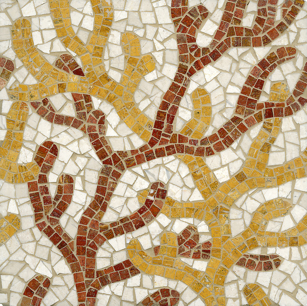 Coral, a hand cut stone mosaic shown in Red Travertine, Persian Gold and Bursa Beige, is part of the Erin Adams Collection for New Ravenna Mosaics.<br />