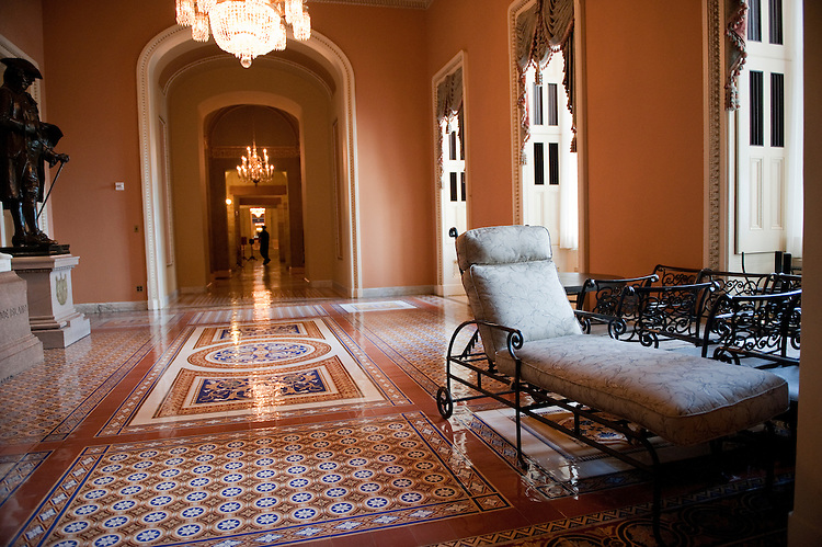 UNITED STATES - AUGUST 26:  Patio furniture sits near the Capitol's Ohio Clock Corridor after being taken off the balcony of Senate Minority Leader Mitch McConnell, R-Ky., in anticipation of the arrival of Hurricane Irene.  (Photo By Tom Williams/Roll Call)