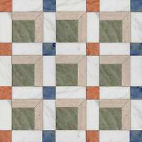 Paseo, a handmade mosaic shown in polished Calacatta, Blue Macauba, Whitewood, Verde Luna, and Rosa Verona, is part of the Illusions™ Collection by Sara Baldwin Designs and Paul Schatz for New Ravenna.
