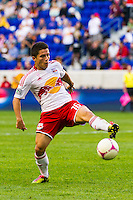 Connor Lade (16) of the New York Red Bulls. The Chicago Fire defeated the New York Red Bulls 2-0 during a Major League Soccer (MLS) match at Red Bull Arena in Harrison, NJ, on October 06, 2012.