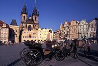 Prague, horse drawn carriage, Czech Republic, Praha, Central Bohemia, Tyn Church, Carriage tour through Old Town Square in the city of Prague.