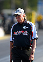 Jun 3, 2016; Epping , NH, USA; Richard Hogan , crew chief for NHRA top fuel driver Steve Torrence during qualifying for the New England Nationals at New England Dragway. Mandatory Credit: Mark J. Rebilas-USA TODAY Sports