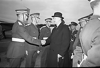 President Eamon De Valera and Irish Cadets leave for President Kennedy's funeral in Washington.  De Valera chatting and shaking hands with some of the Irish Cadets before they all boarded the Aer Lingus jet..24.11.1963