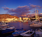 Los Cristianos harbour at dusk,Tenerife, Canary Islands, Spain