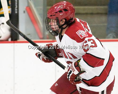 Colin Blackwell (Harvard - 63) - The Harvard University Crimson defeated the visiting Clarkson University Golden Knights 3-2 on Harvard's senior night on Saturday, February 25, 2012, at Bright Hockey Center in Cambridge, Massachusetts.