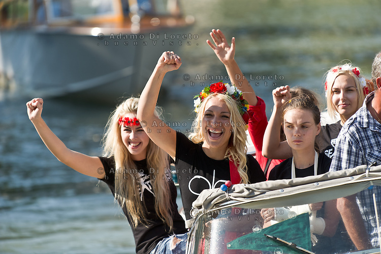 Activists of the feminist movement FEMEN are seen during the 70th Venice International Film Festival on September 3, 2013. (Photo by Adamo Di Loreto/BuenaVista*photo)