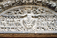 """Paris: Basilica of Saint-Denis. Tympanum, central door of West Porch. The Last Judgment, period of Suger but  """"brutally reworked in the 19th century. Photo '90. ."""""""