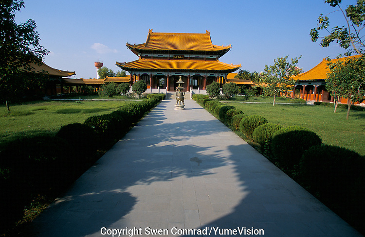 A Buddhist temple build by the Chinese in Lumbini Nepal, marks the birth place of Siddhartha Gautam Buddha..In 1976, the Nepalese Government and UNESCO designated Lumbini as a world heritage site..A Buddhist temple build by the Germans governement in Lumbini Nepa