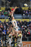 Charlie Ewels of Bath Rugby rises high to win lineout ball. Aviva Premiership match, between Bath Rugby and Wasps on February 20, 2016 at the Recreation Ground in Bath, England. Photo by: Patrick Khachfe / Onside Images