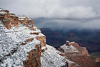 View from Bright Angel trail of snow covered rim of Grand Canyon, Arizona, USA